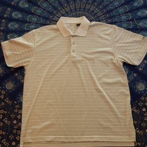 5/$25 IZOD striped white gray collard shirt size L